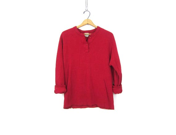 Berry Red long underwear top minimal look button front Distressed Thermal layering shirt Rugged Cotton henley Shirt Women's Size Medium