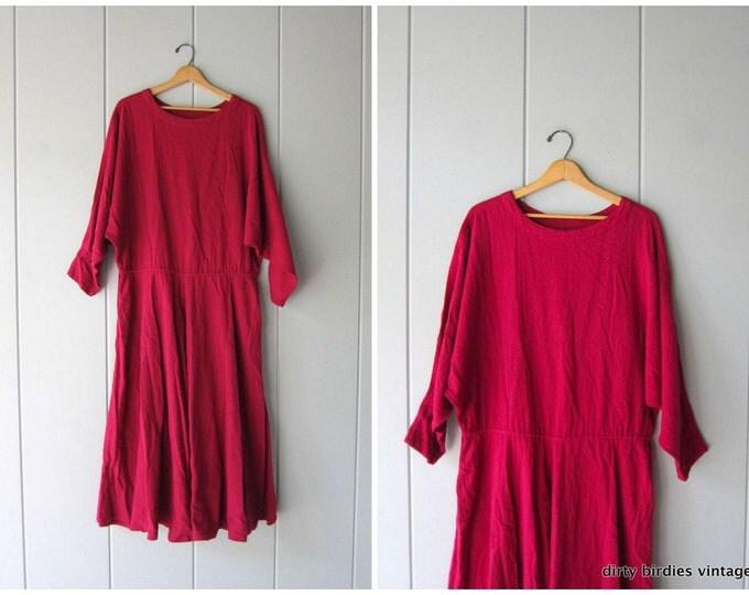 80s Textured Cotton Dress Dark Pink Summer Frock Basic Dolman Sleeve Minimal Dress Oversized Fit Vintage Long Dress Pockets Womens Large XL