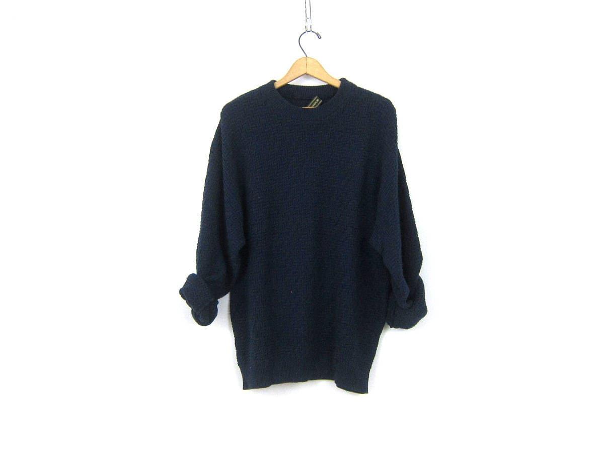 Long Baggy Blue Sweater Pullover Boyfriend Top Slouchy Zig Zag ...