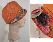Vintage 1920s Persimmon Brocade Bucket Cloche SZ 22.5