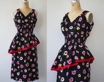 vintage 1980s dress / 80s sundress / early 80s sundress / 80s floral dress / 80s peplum dress / 1980s floral sun dress / medium large