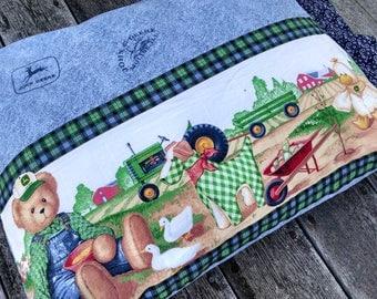 Farm Life standard pillowcase Teddy Bear Farmer John Deere Tractor Farm Pillowcase Custom Pillowcase standard size handmade USA