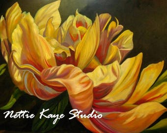 LARGE FLORAL PAINTING 30 x 40 Oil on canvas Peony in light yellow