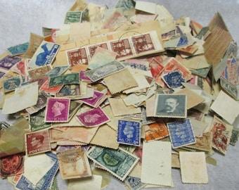 Big Lot of Vintage Postage Stamps Paper Ephemera