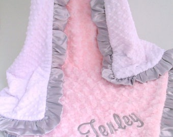 SALE White Pink and Gray Minky Baby Blanket - Adult Blanket Can Be Personalized