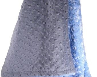 SALE Blue Swirl and Charcoal Gray Minky Dot Baby Blanket Monogram IncludedCan Be Personalized