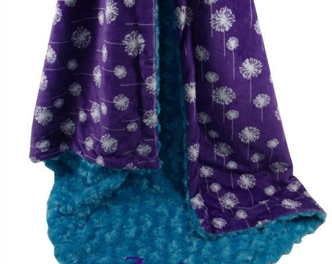 SALE Teal Rose Swirl and Purple Dandelion Minky Baby Blanket, Teal and Purple Minky Blanket, available in three sizesCan Be Personalized