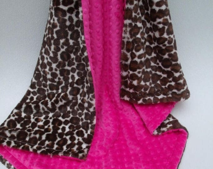 SALE Pink and Leopard Print Baby Blanket, Pink and  Cheetah Print Baby Blanket, Fuchsia Minky Dot and Leopard Minky Blanket, Animal Print Nu