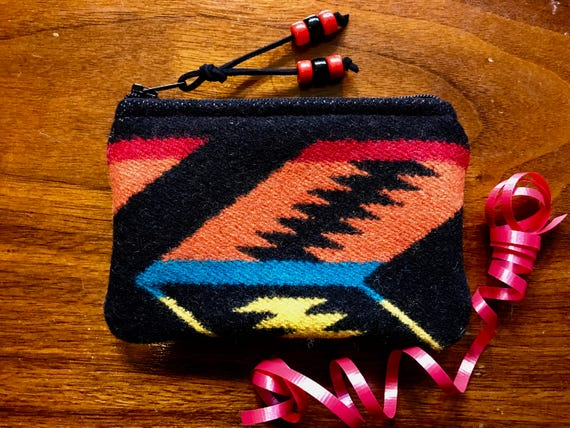 Wool Coin Purse / Phone Cord / Gift Card Holder / Zippered Pouch Black & Orange