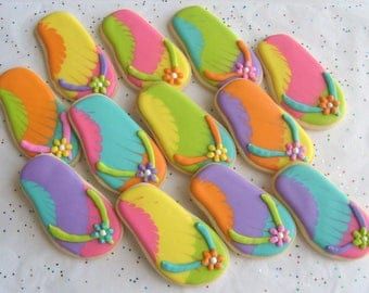 FLIP FLOP Cookie Favors - Flip Flop Decorated Cookies - 1 Dozen