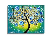 Curly Tree of Life Painting Wall Art, Whimsical Tree Landscape Painting on Canvas, Green Blue Wall Accent