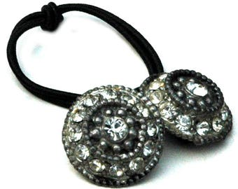 Antique Rhinestone Buttons repurposed as Ponytail Holder, Matte Silver Metal Setting, Hair Accessor made from 1930's Era Rhinestone Button