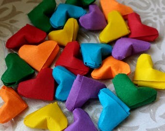 24 Tiny Rainbow Folded Paper Origami Hearts - Lucky Hearts - Kirigami Paper Hearts - Table Decor, Confetti, Party Decor, Gift Enclosure
