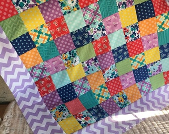 Unfinished quilt top / Baby sized / Hello Jane - ready to quilt / shower gift / DIY / floral, chevron, purple, pink, teal / Allison Harris