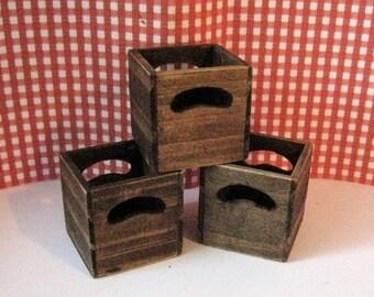 Dollhouse  Storage boxes, storage, toy box, garage,  Dark oak , bar,.food storage, boot storage   twelfth scale, a dollshouse miniature