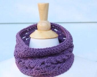 Purple crochet cowl, purple crochet scarf, dusty purple cowl, purple circle scarf, dusty purple scarf, crochet shell cowl, lightweight cowl