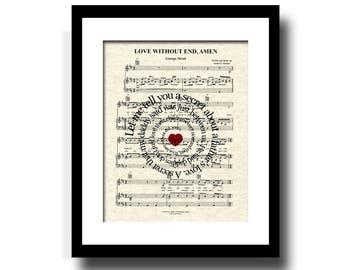 Love Without End, Amen Song Lyric Art Print, Sheet Music Art Print, Custom Art, Name and Date