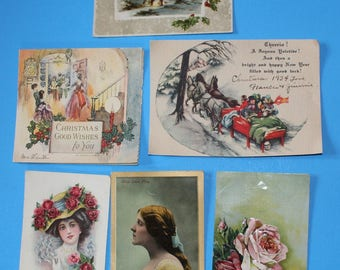 6 Vintage and Antique Postcard and Greeting Cards, Earlier Date 1908