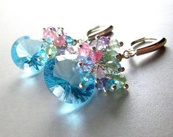 Sky Blue Quartz With Amethyst, Rose QuartzGreen Amethyst Blue Quartz Sterling Silver Cluster Earrings, Pastel Cluster Earrings