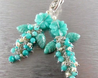 Reserved For Virginia - 25 OFF Carved Amazonite Flower and Leaves Cluster Earrings