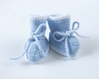 Traditional Style Baby Booties - Baby Blue with white trim - Hand Knit Baby Booties.