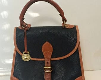 FREE SHIPPING Vintage Dooney & Bourke Black All Weather Leather Small Tote Purse