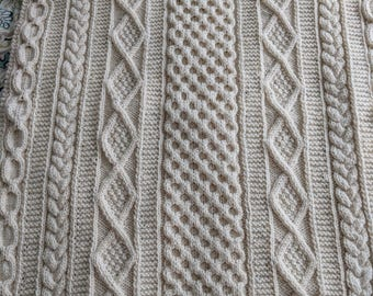 Handknit Cable Baby Blanket or Lap Blanket