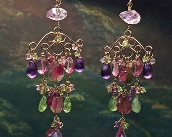 30% SALE Watermelon Tourmaline Earring Luxury Gemstone Gold Chandelier Earring Wire Wrap  Multicolor Gemstone Colorful Handmade Bohemian Cha