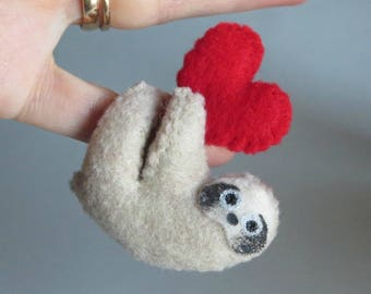 Valentine Sloth miniature felt plush stuffed animal with bendable legs and hand painted face -tan-rain forest animal