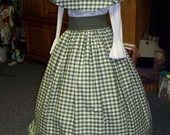 Dicken's Christmas Civil War Ladies drawstring Skirt or cape Olive green and beige Plaid Homespun or green Sash one size fit all