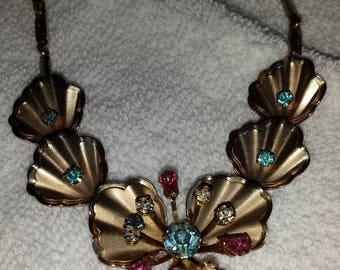 """Vintage bib necklace. Unsigned..   14"""" adjustable"""
