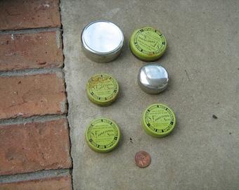 6 empty watch part metal tins altered art collage steampunk S. Fargotstein & sons Memphis, Tn. L-5