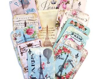 Scrapset Paris Embellishment,Eiffel Tower Tags-Scrapbook Stamped Muslin Bag-Destash Paris Vintage-Vintage Boot-French Album-Art Journaling