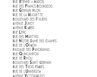 Paris Typography, Paris Streets From A to Z,  French Word Art, Paris Collection, Quote, 16x20 Black and White Gallery Wall, Francophile Gift