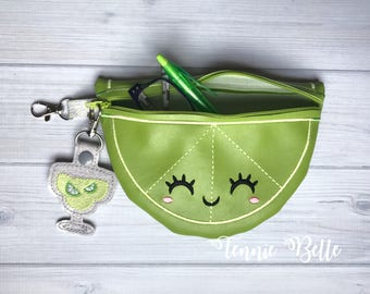 Lime Zipper Pouch with Margarita Clip- Green