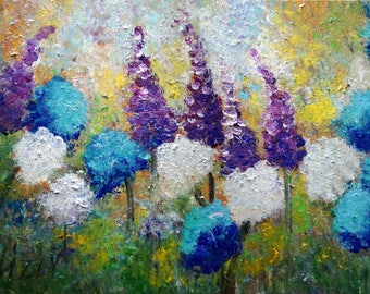 Flowers Painting Original Oil on Canvas WINDY DAY Landscape Artwork on Large Canvas by Luiza Vizoli Ready to Ship