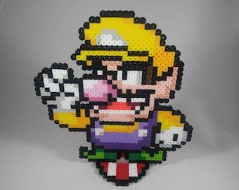 Wario - Super Smash Bros -  Super Mario - Perler Bead Sprite Pixel Art Figure Stand or Lanyard Necklace
