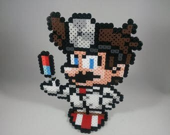 Dr. Mario - Super Smash Bros Nintendo - Perler Bead Sprite Pixel Art Figure Stand or Lanyard Necklace