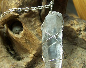 Quartz Crystal light Sterling Silver wire wrap necklace pendant - clear raw natural stone point - cord or chain coyoterainbow - 1 inch VQS6