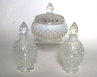 Fenton French Opalescent Hobnail Glass Vanity Set Powder Jar Perfumes