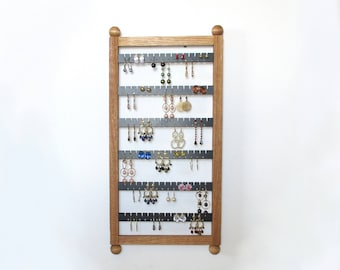 Earring Holder,  Earring rack ,  Holds 80 pairs , Jewelry Organizer,  Earring Storage,  Jewelry storage,  Oak Jewelry Storage, Oak Display