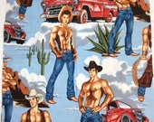 Sexy Cowboys fabric by Alexander Henry, novelty colorful fabric, out of print fabric, 6 pack abs cowboys, wranglers, sewing material