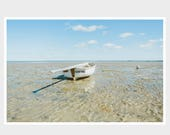 boat photograph, boat at low tide, sand ripples, tempting boat name, summer memories, cape cod, bay beaches, beach house, nautical art