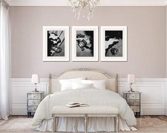 Interior Master Bedroom Art master bedroom art etsy black and white photographs set of 3 prints white