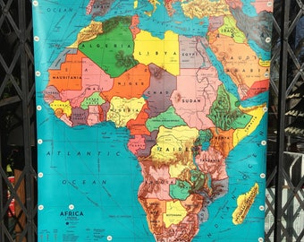 Vintage School Wall Map Pull Down Classroom 1940s Africa