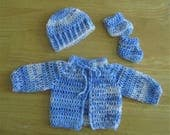 RESERVED FOR LUIGINEMO - Crocheted  Blue and White Baby Sweater, Hat and Booties - Newborn to 3 months