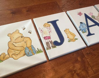 "8"" x 10"" Classic Winnie the Pooh Animal Personalized Name Wall Letters Bedding Nursery Personalized Canvas Art Decor (price per letter)"