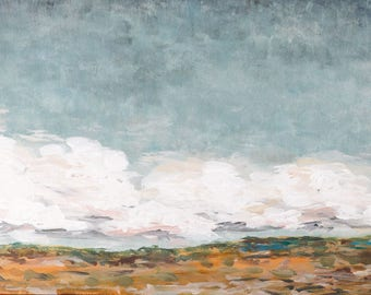Landscape Painting - When the Clouds Roll In - Acrylic on Panel 10x20 Original Painting