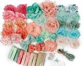 Pastel Carousel : DELUXE DIY Flower Elastic Headband Kit | MAKES 25+ Hair Accessories | Baby Showers + Birthdays Mint Green Peach