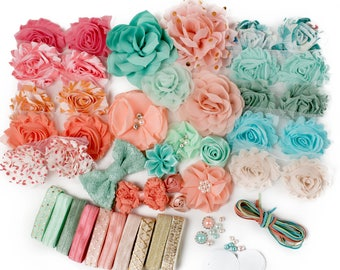 Pastel Carousel : DELUXE DIY Flower Elastic Headband Kit | MAKES 25+ Hair Accessories | Baby Showers + Birthdays Mint Green Peach